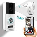 Video TüRklingel Mit Kamera, YIROKA Video Doorbell Wifi Funk Gegensprechfunktion Bewegungsmelder Mit Monitor IP65 Wasserdichte 1080P HD Weiß